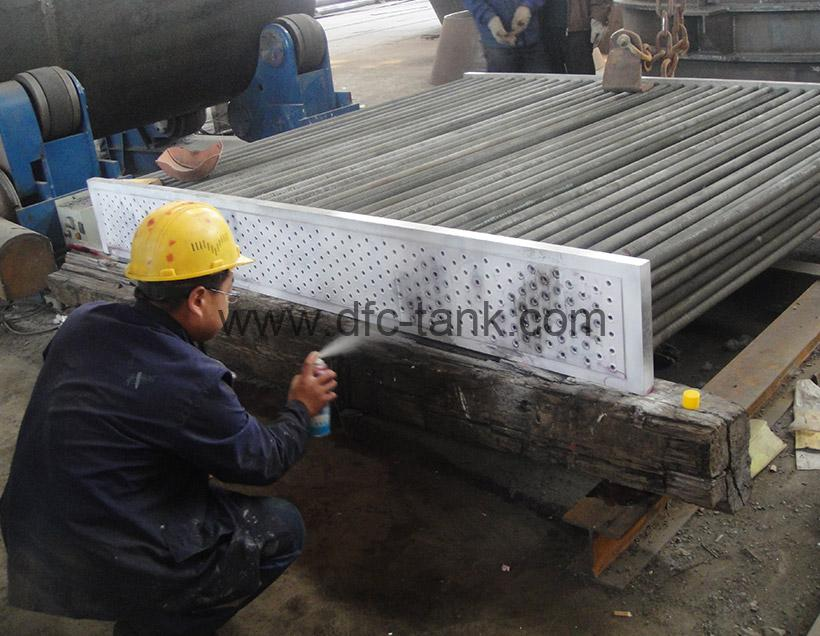 6. Spiral Tube Heat Exchanger's weld is being test by PT